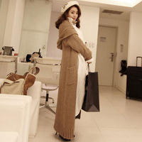 Autumn winter woman casual loose hooded ankle length knitted jacket maxi cardigan maxi  sweater coat