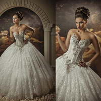 Hot 2015 Vintage Wedding Dresses sexy ball gowns sweetheart lace appliques crystal lace-up bridal gowns