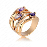 Retail- Newest Arrival Unique Multi-layer Engagement Rings Genuine 18K Gold Plated Pave Austrian Crystals Fashion Jewelry
