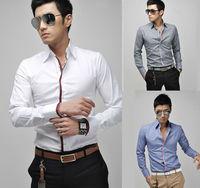 New 2014 Hot Selling  Men's Casual Long-Sleeved Turn-Down Collar Fashion Shirt M-2XL 5910-B , Free Shipping
