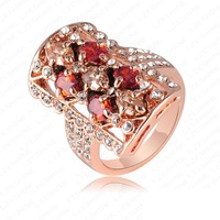 Retail-Free ShippingFashion Rings 18K Rose Gold Plate Austrian Crystal   Element Ring Big Finger Rings 22*32mm Ri-HQ0014