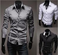 M-3XL Plus Size New 2014 Hot Selling  Men's Casual Fashion Long-Sleeved Turn-Down Collar Shirt 5902-B , Free Shipping
