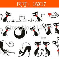 GJ195(Minimum order $ 3,Can be mixed batch) Body Art Stencil Designs Sexy cat  Waterproof Temporary Tattoo