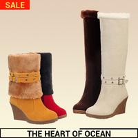 Fashion Korean feminine Mid-calf Boot PU Buckle Knee High Boot Winter Women Shose Flush Wedge Boots New Brand Botas S105