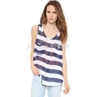 blouse and shirt women summer 2014 chiffon striped print loose top women european sleeveless see through sexy plus size shirt