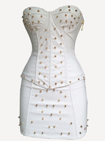 Rivet Leather Gothic White Black Red Overbust corsetdress sexy corset corset dressCorpete tight Shaperwear4 colors Free Shipping