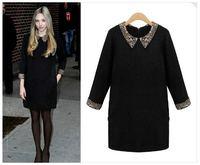 UK Brand New 2014 Spring  ZA Women Peter Pan long-sleeve Black Navy Knitted Sweater Dress Preppy Woolen Winter Dress Sheath Mini