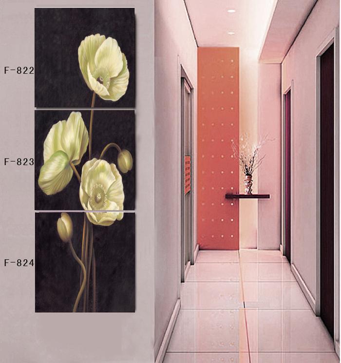 Verticais de 3 peças da parede da lona imprime arte para a casa decoração da parede Imagem Corn Poppy Flower(China (Mainland))