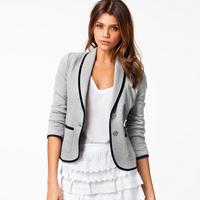 2014 New Fashion Spring Women Blazer Short Design Turn Down Collar Slim Blazer Grey Short Jacket Coat For Women WF-639