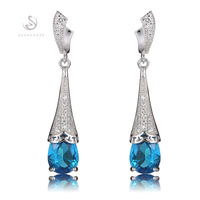 Romantic Wholesale  Blue Cubic Zirconia beautiful S 925 sterling Silver trendy Earrings  S--3711
