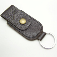 Genuine leather cowhide digital usb flash drive storage bag usb flash drive key chain