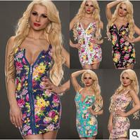 M-XXL Plus Size Women Print Sexy Dress Flower Front Zip Sexy Vest Mini Dress Night Club Use Bandage Dresses Free Ship D60