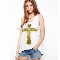 women tank top fashion summer 2014 european style white cotton casual tshirt women CROSS print sleeveless XXL tee