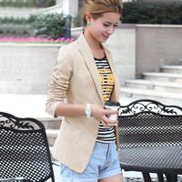 2014 New Fashion autumn Women Slim Blazer Coat Casual Jackets Long Sleeve V-Neck Black White One Button Suit Outerwear WF-640