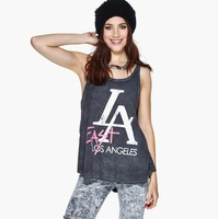 new arrival summer 2014 women grey color cotton tank top women letter print sleeveless punk rock plus size t shirt