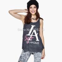 new arrival summer 2014 women grey color cotton tank top women letter print sleeveless punk rock plus size t shirt