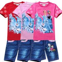 Free Shipping Wholesale 6sets/lot Elsa&Anna Frozen T Shirt+Short Jeans Sets Girls Princess Children's Clothing Sets Casual