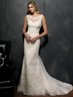 Custom made 2015 Vintage White Wedding Dresses Lace Satin scoop neck sheer Sheath Bridal Gowns Dress