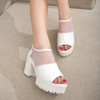 wholesale free shipping 2014 summer fashion trend of the gauze open toe thick heel platform high heels ladies sandals