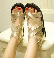 wholesale free shipping 2014 fashion flip-flop fashion gladiator style cross bandage flat back zipper women's sandals