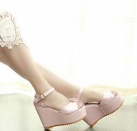 wholesale free shipping 2014 fashion high-heeled wedges cutout platform open toe strap girls sandals