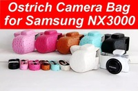 Hot Ostrich Camera  Bag for Samsung NX3000 PU Leather Case With Shoulder Strap 1pc/lot Free Shipping
