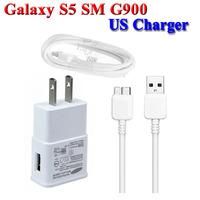 US Wall Charger + USB Charging Data Cable for Samsung Galaxy S5 i9600 SM G900F G900H Adaptador cargador