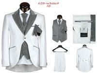 New 2014 Brand Men Dress Suits Fashion Wedding Suits For Men 5 Piece Set (Jacket + Pants + Ma3 Jia3+ Tie + Square Towel)