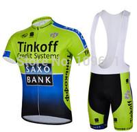 free shipping!2014 Saxo bank team short sleeve cycling jersey + bib shorts,bicycle wear,bike jersey,cycle clothes