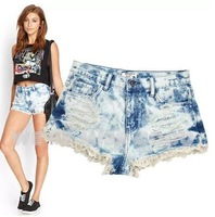 MISS COCO 2014 Summer New Streety Tie Dye Holes Lace Splicing Good Shape Skinny Denim Shorts Jeans for Ladies Women