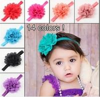 Eyelet Flower Headbands On Shimmer Fold Over Headbands For Newborn/Baby/Toddler 120pcs/lot 14 colors in stock hot promotion gift