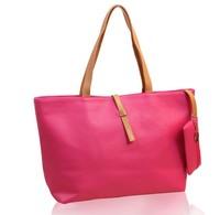 European And American Handbags Solid Color  Handbags  Belt Buckle Shoulder Bags PU Messenger Bags Larg Shoulder Bags B-1332