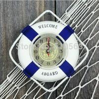 gz047-1 Free shopping ticking sound work 1pcs 14*14cm Mediterranean Sea life ring decoration house or shop creative wall clock