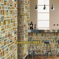 Free shipping 50*200cm Mosaic wallpaper oil paste bathroom waterproof wallpaper waistline HWP-011 Home decoration