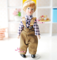 Doll Poseable Blond hair rompers Boy 1/12 Dollhouse Miniature Lovely Furniture Doll Accessories