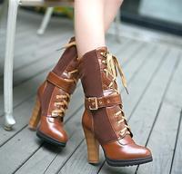 Fashion Women Mid-calf Boot High Heel Patchwork Mix Colors Feminine Martin Boots Buckle Vintage Winter Botas S114