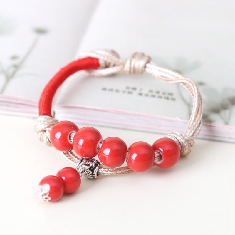 Sweets porcelain accessories jingdezhen ceramic pure hand woven beads bracelet honey female bracelet