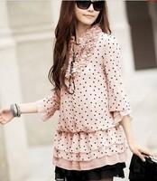 New 2014 Spring Autumn Blouse Korean Hot Sales Women Blouses Full sleeve Round neck Polka Dot blouse tops Free shipping 9029