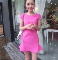 New 2014 Women Summer Dress Korean Fashion Brand  Women Elegant  Short Sleeve Solid Color O-neck Chiffon Dress Free Shipping 805