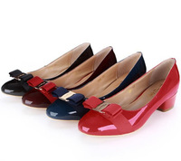 free shipping lady pumps with bowtie patant office lady shoes big size 35~41 new arrival women short pumps genuine leather shoes