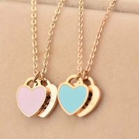 Brand  Words glaze Two Hearts Pendants & necklaces corrente masculino ,rose gold plated hogwarts steampunk love Is Accessories