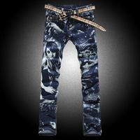 Jeans men skinny print pants fashion graffiti beauty colored drawing elastic slim size W27 to W40 painted denim jeans