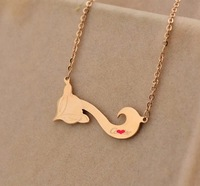 Brand Magic Sideways LONG tail fox CC Pendants & necklaces gold plated jewelry , stainless steel animal monogram necklace bijoux
