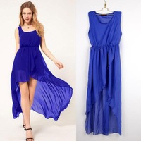 The 2014 European station new summer dress irregular Chiffon significantly thin dovetail dress eBay aliexpress for