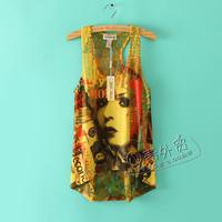 2014 new summer vest  lemon tanks & camis Cartoon Animation print t-shirt sexy tops for women casual dress women's vest