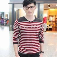 2014 New fashion high quality Men's Slim Stripe shirt Casual Basic V-neck sweater 100% cotton Knitwear clothing Free Shipping