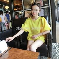 2014 summer pregnant women's lantern sleeve half sleeve clothing set maternity plus size shorts suits free shipping yellow/blue