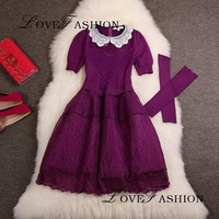 S-L(Purple+Black)Free Shipping Autumn New high-end Lace Peter Pan Collar Patchwork knitted Organza dress With Sleeve 14072732