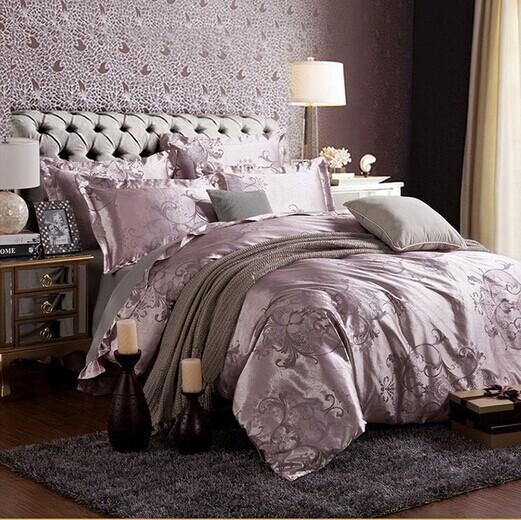 Livraison gratuite à chaud 4 pcs lit feuille textile à la maison ensemble de literie de satin jacquard literie linge de lit queen king couette literie ha017-2