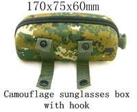 2014 new stock, camouflage sunglasses box, the compressive belt hook, portable sunglasses box. Portable tied belt glasses box